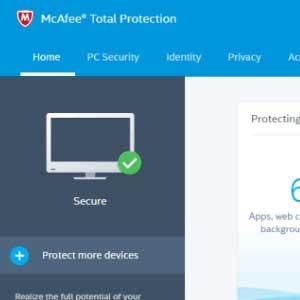 McAfee Internet Security 2019 dashboard